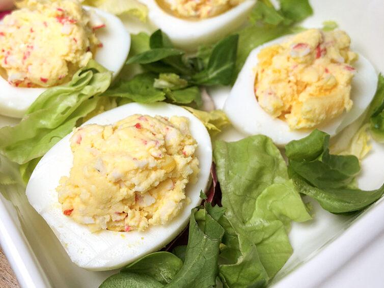 Jajka faszerowane szynką i rzodkiewką
